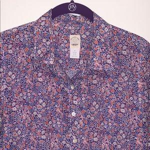 J. Crew Liberty art fabric silk blend shirt